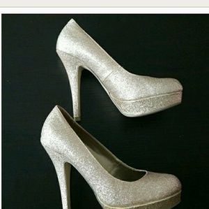 Gold Gitter Heels